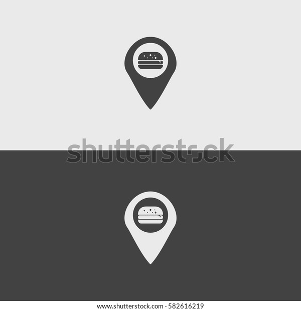 Burger pin black and white icons.illustration isolated vector sign symbol