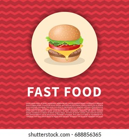 Burger poster. Cute cartoon colored picture of fast food. Menu design elements. Vector illustration of fast food