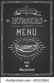 Burger poster menu sketch drawing on the chalkboard.