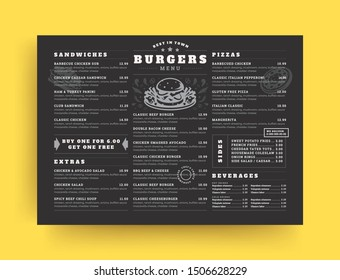 Burger restaurant menu layout design brochure or food flyer template vector illustration. Hamburger symbol with vintage typographic decoration elements and fast food graphics.