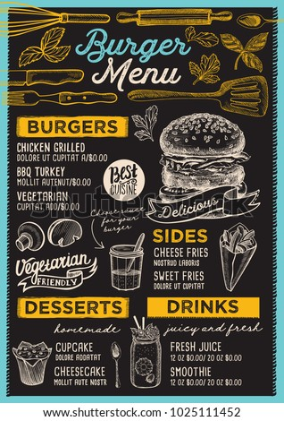 burger restaurant menu vector food flyer stock vector royalty free