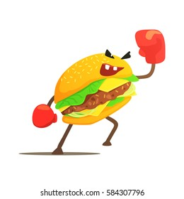 Burger Sandwich Box Fighter In Gloves, Fast Food Bad Guy Cartoon Character Fighting Illustration