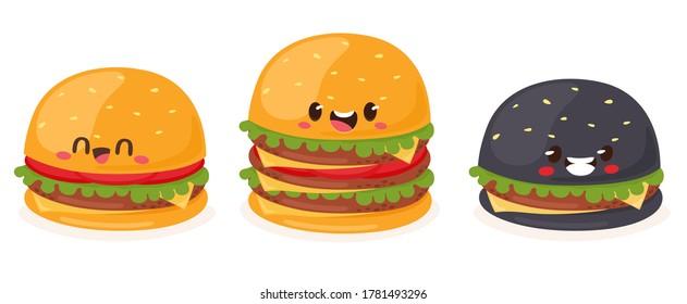 Burger Set, Classic, Hamburger, Black Hamburger and XXXL Layered Burger. Vector illustration in flat cartoon style.