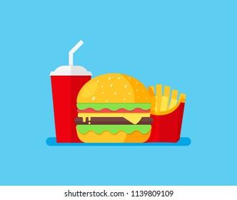 Burger Set Vector Illustration. Cheeseburger, french fries and soda.