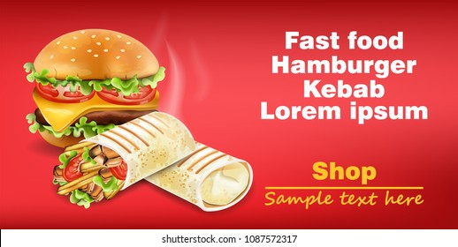 Burger and Shawarma Kebab fast food Vector. Detailed illustrations
