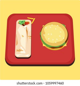 Burger and Shawarma on red tray top view.