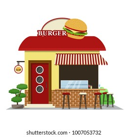 Burger shop.Food shop icon in flat design style. Vector illustration