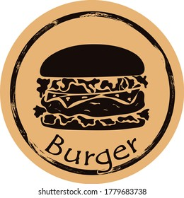 Burger silhouette vector round shabby emblem flat design, old retro style. Junk food hamburger shape grunge sign. Traditional fast food logo stamp on craft paper. Street food icon for web design.