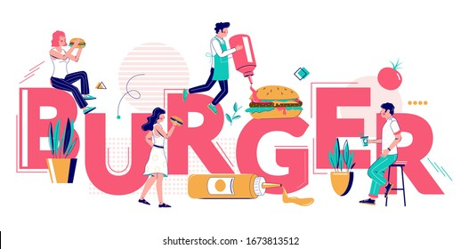 Burger, snack food typography banner template, vector flat illustration. Fast food restaurant chefs cooking and people eating delicious hamburger, cheeseburger. Burger house concept.