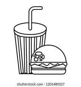 burger soda fast food thin line