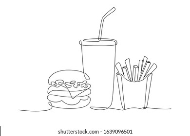 Burger, soda and french fries takeout food in continuous line art drawing style. Fast food minimalist black linear sketch isolated on white background. Vector illustration