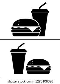 Burger and soda icon vector. Hamburguer design