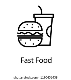 Burger with soft drink is fast food
