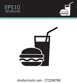 Burger with soft drink vector icon.