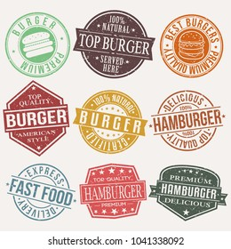 Burger Stamp Quality Seal Vector Art Design