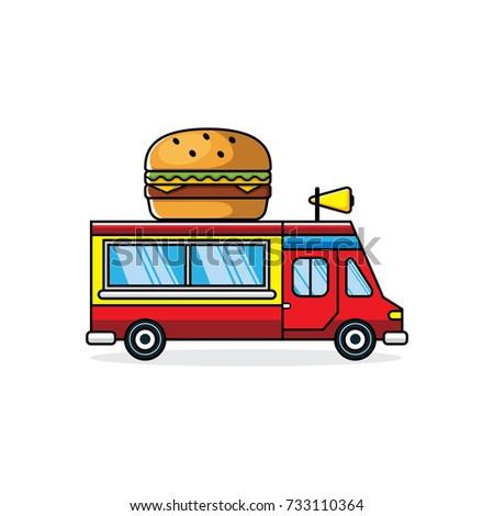 Burger Truck Vector Illustration Stock Vector (Royalty Free