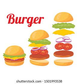 Burger vector illustration isolated on white background