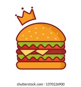 Burger vector Illustration, simple element illustration, king burger with crown logo vector