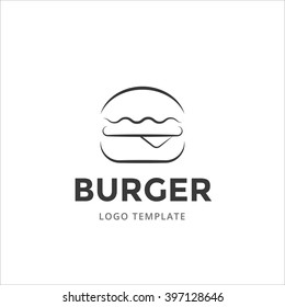 Burger vector logo template in line style. Burger simple icon.