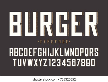 Burger vector retro regular font design, alphabet, typeface, typography.