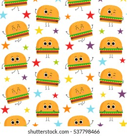 Burger, vector seamless pattern with cute fast food characters and colorful stars isolated on white