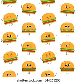 Burger, vector seamless pattern with cute fast food characters isolated on white
