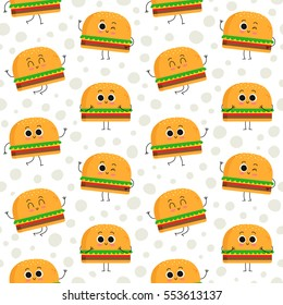 Burger, vector seamless pattern with cute fast food characters on dotted background