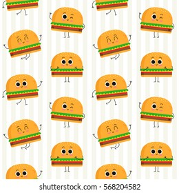 Burger, vector seamless pattern with cute fast food characters on stripy background