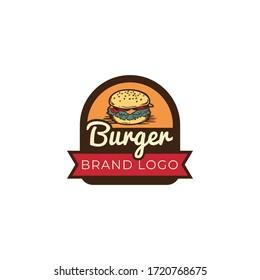 Burger vintage logo design - business burger logo design