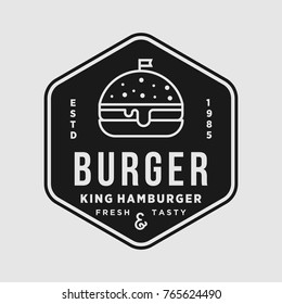 Burger vintage premium quality vector emblem isolated design illustration