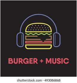 Burger wearing headphone. food music love concept. Restaurant with burger and music.