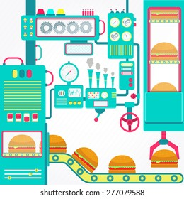 Burgers factory. Colorful factory of hamburger with cute machines. Flat design.