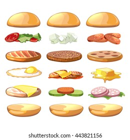 Burgers ingredients. Fast food set in cartoon style. Vector illustration