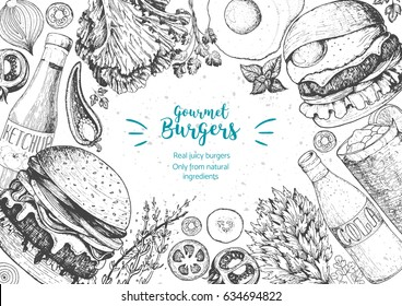 Burgers and ingredients for burgers vector illustration. Fast food, junk food frame. American food. Elements for burgers restaurant menu design. Engraved style image.