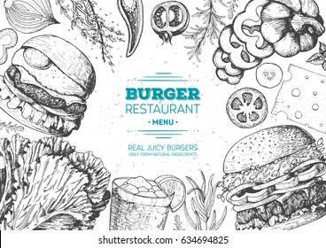 Burgers and ingredients for burgers vector illustration. Fast food, junk food frame. American food. Elements for burgers restaurant menu design. Engraved style image.