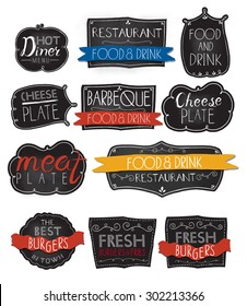 Burgers logo set in vintage style. Vector Illustration with lettering. Retro hand drawn burger logotypes collection.