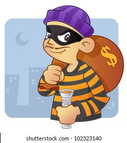 burglar cartoon character in action,  with bag of money and flash light.