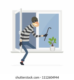 Burglar - cartoon people characters illustration isolated on white background. An image of a housebreaker, thief in a mask breaking into a house through an open window at night, holding a crowbar