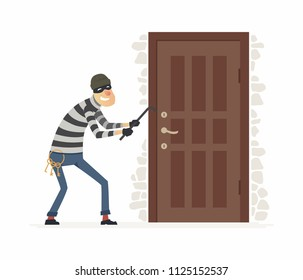 Burglar - cartoon people characters illustration isolated on white background. An image of a housebreaker, thief in a mask breaking into a house, standing at a door with a crowbar and key ring
