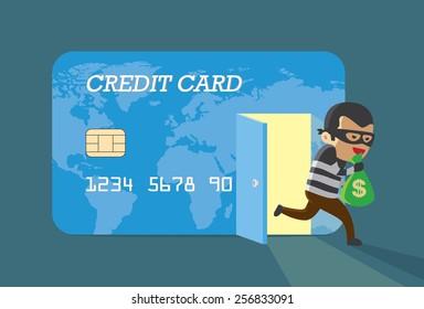 Burglar money from credit card and run away
