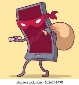 Burglar Phone vector illustration. Online Danger, Predator, Scam design concept