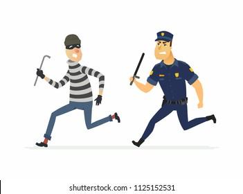 Burglar and policeman - cartoon people characters illustration isolated on white background. High quality composition with a criminal, housebreaker in a mask with a crowbar running from an officer