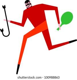 A burglar runs away with a sack of stolen goods carrying a crowbar