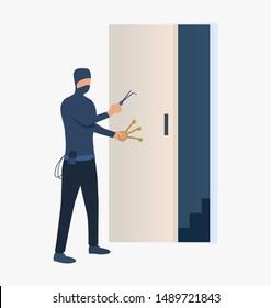 Burglar unlocking door. Car burglary, thieves, criminals wearing black clothes. Crime concept. Vector illustration for webpage, landing page