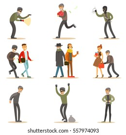 Burglars, Pickpockets And Thieves Set Of Smiling Criminals At The Crime Scene Stealing Vector Illustrations. Cartoon Outlaw Male Characters Thieving Wearing Mask And Dark Clothes.