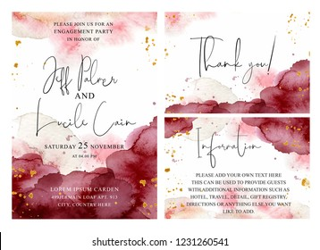 Burgundy, pink and gold wedding set with  hand drawn watercolor background. Includes Invintation, information and thank you cards templates. Vector set