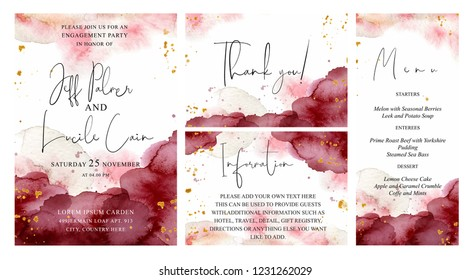 Burgundy, pink and gold wedding set with  hand drawn watercolor background. Includes Invintation, menu, information and thank you cards templates. Vector set