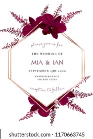 Burgundy red astilbe, marsala colored dark exotic orchid vector design fall frame. Pink gold polygonal line art with shimmer. Geometric card. Autumn chic wedding invitation. Isolated and editable.
