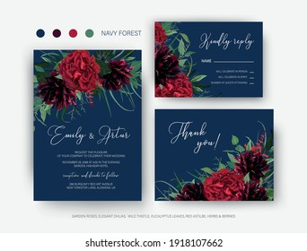Burgundy red and greenery floral wedding vector set. Invite, rsvp, thank you card. Elegant red garden rose flower, wine dahlias green eucalyptus leaves, herbs wreath decoration on navy blue background