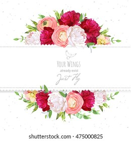 Pink flower images stock photos vectors shutterstock burgundy red and white peonies pink ranunculus rose vector design frame natural card mightylinksfo